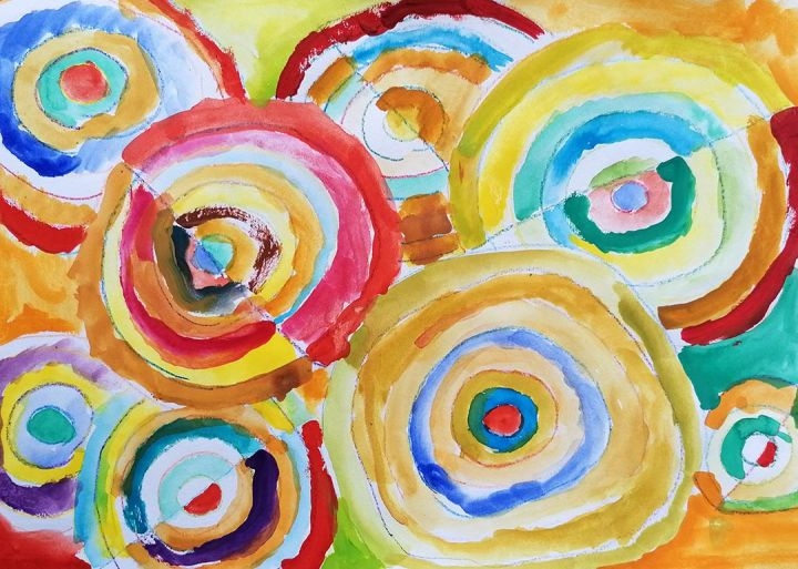 Dinis, 8 anos; artista de referência Sonia-Delaunay