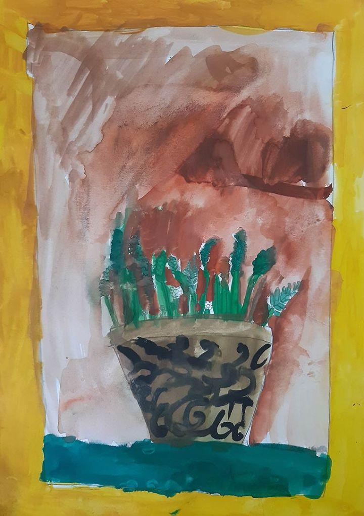Diogo, 9 anos; artistas de referência Van Gogh e Georgia O'Keefe