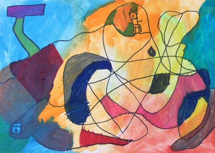 Tiago, 8 anos; artista de referência Joan Miró