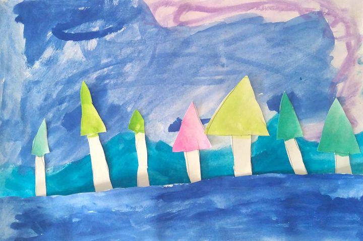 Valentina, 6 anos; artistas de referência: Turner e Bruegel