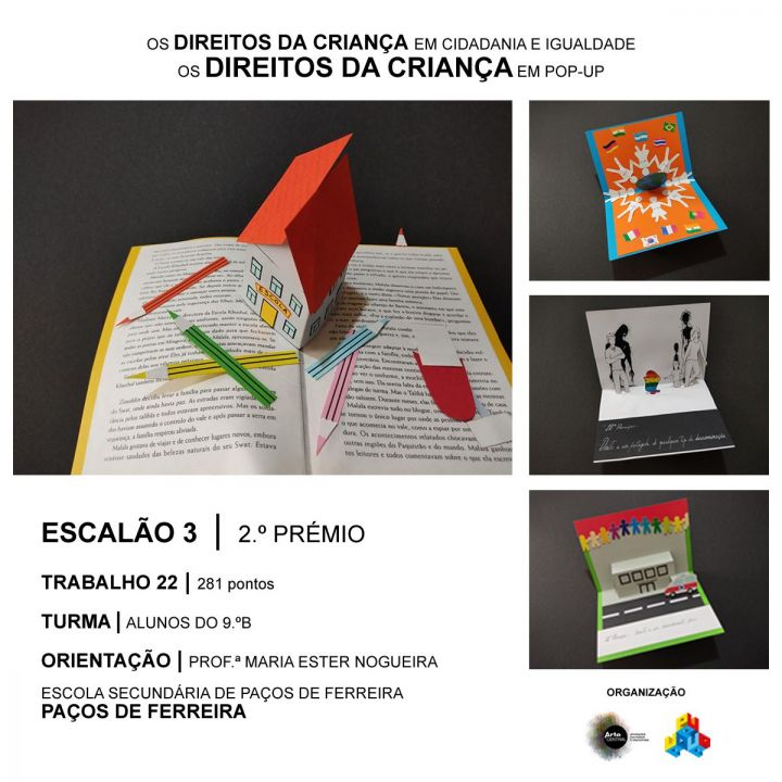 Direitos da Criança em Cidadania e Igualdade. Resultado do concurso Nacional Arte Central.